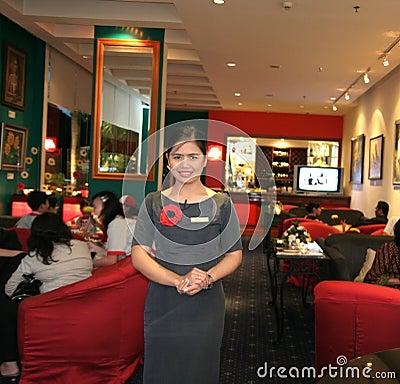 Waitress at bar