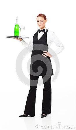 Waitress with champagne