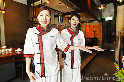 Waitress in Chinese style Editorial Stock Image