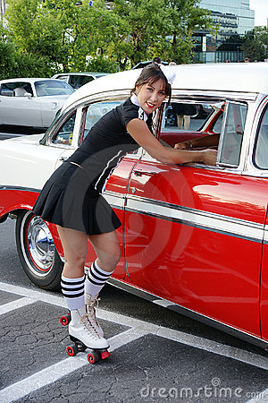 Waitress at drive-in restaurant