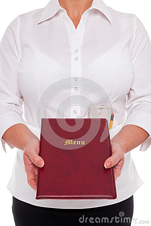 Waitress handing you a Menu