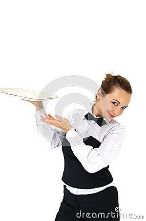 Free Waitress Holding Tray Stock Photos - 4324933