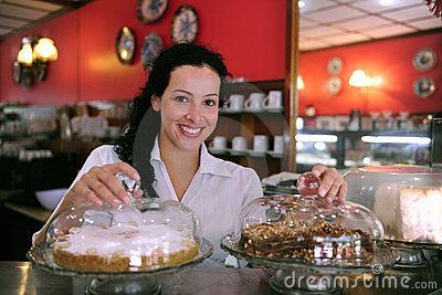 Waitress of a pastry store/ cafe