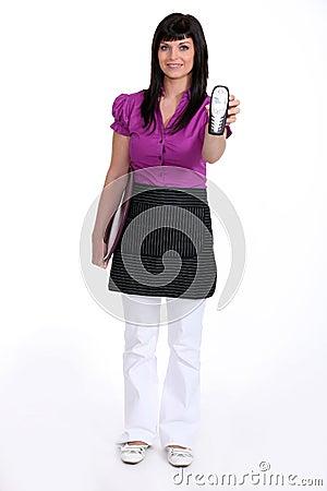 Waitress with phone