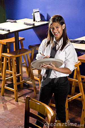 Waitress ready to take an order