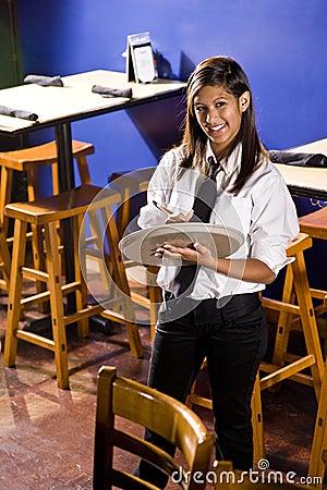Waitress ready to take an order