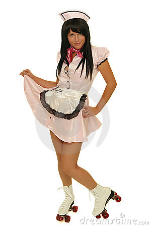 Waitress with roller skate