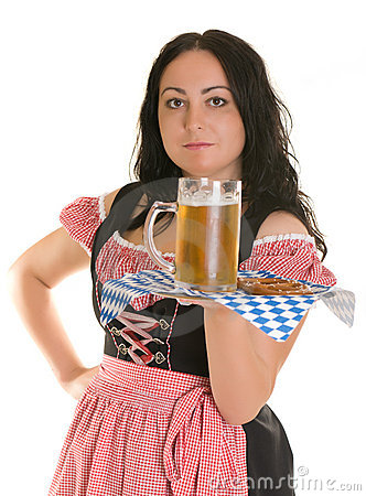 A waitress serves beer