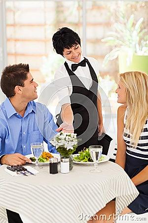 Waitress serving