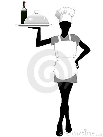Waitress silhouette in chef hat holds serving tray