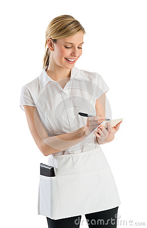 Waitress Smiling While Writing On Order Pad