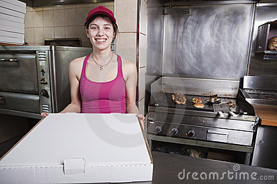 Waitress with take out pizza