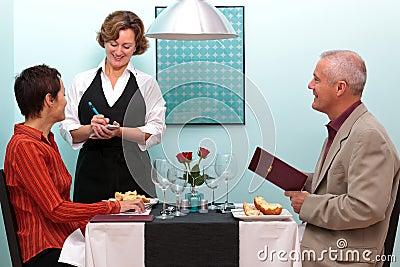 Waitress taking an order in a restaurant