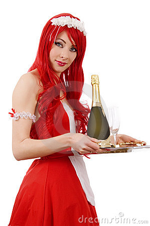 Waitress with tray and champagne