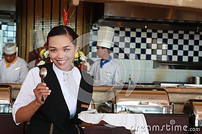 Waitress at work