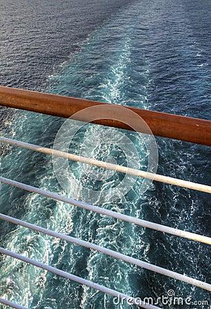 Free Wake Seen Through A Railing From A Cruise Ship Stock Photos - 125878783