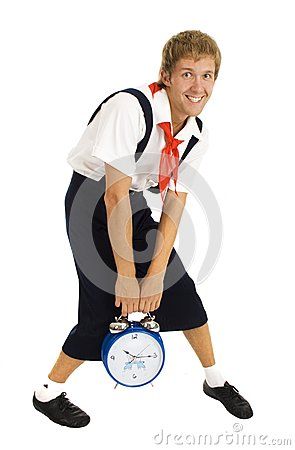 Wakeup men with alarm clock isolated