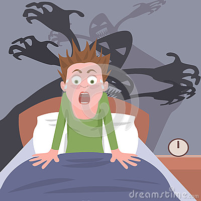waking up from nightmare stock vector image 62138341