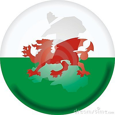 Wales map and flag
