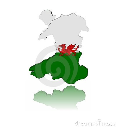 Wales map flag with reflection