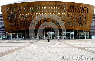 Wales millennium centre facade, Cardiff. Editorial Stock Image
