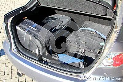 Walizki w bagażu samochodowym przewoźniku