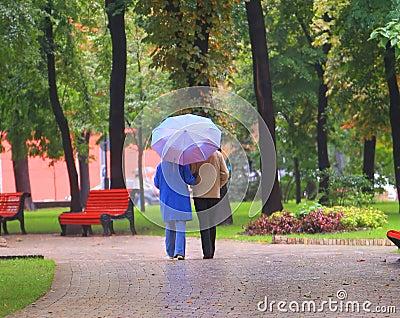 Walk in autumn park