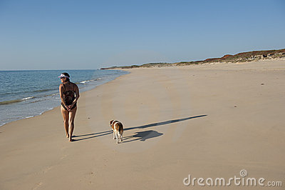 Walk the dog on the beach