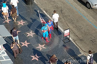 Walk Of Fame: Superman and Captain America Editorial Photo