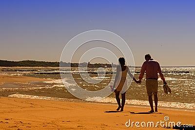 Walk on sunny beach