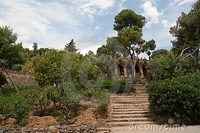 Walk way by Antoni Gaudi in park Guell