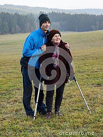Free Walk With Grandma Stock Image - 64159711