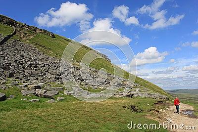 Walker on the footpath to Pen-y-ghent N Yorkshire
