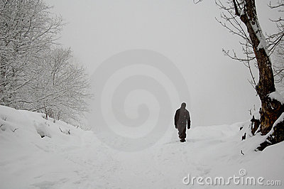 Walker in snowy countryside