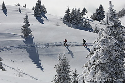 Walkers in snowy mountains