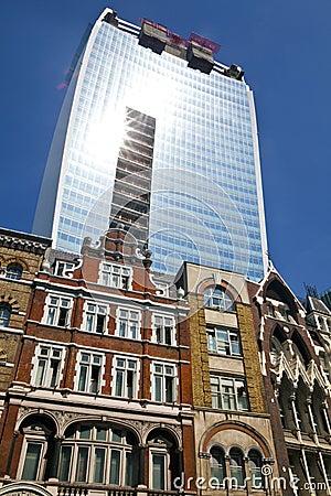 Walkie Talkie budynek w Fenchurch ulicie Obraz Editorial