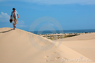 Walking Across The Sand Dunes Stock Image - Image: 1490211