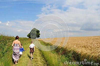 Walking along country path