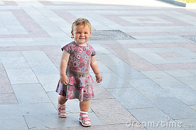 Walking baby girl