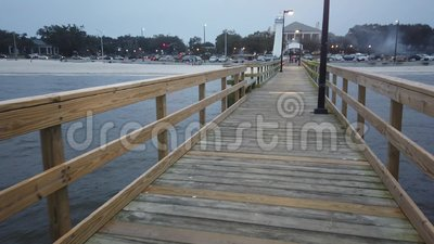 Walking On Biloxi Lighthouse Pier At Dusk Stock Footage Video Of