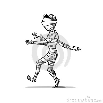 Free Walking Black And White Mummy Character Isolated On White. Halloween Concept Vector Illustration Stock Photography - 123826522