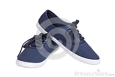 Walking blue sneakers