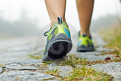Walking exercise in mountains