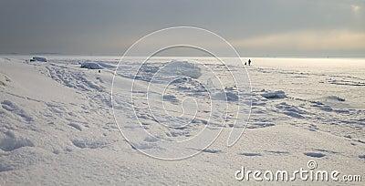 Walking on frozen ice