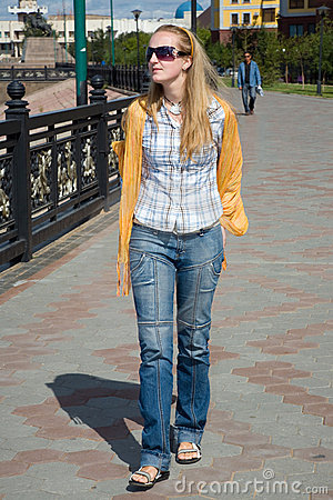 Walking girl.