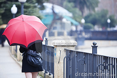 Walking girl under rain
