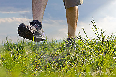 Walking on grass, exercise outdoors