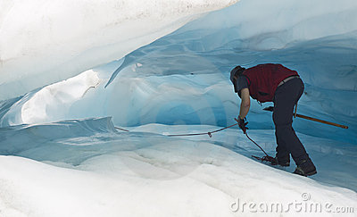 Walking in ice cave