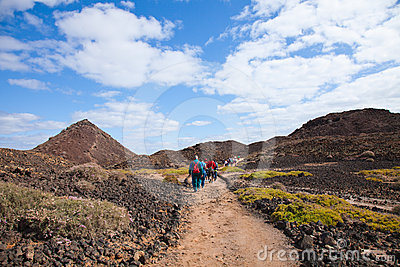Walking on Isla de Lobos Editorial Photo