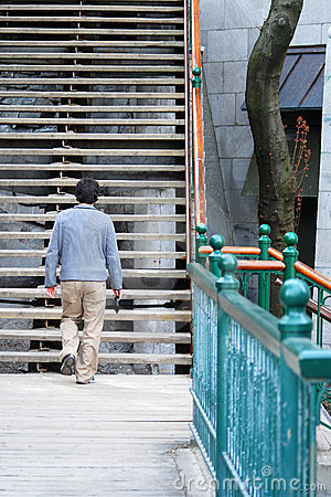 Walking man go to stairs 2